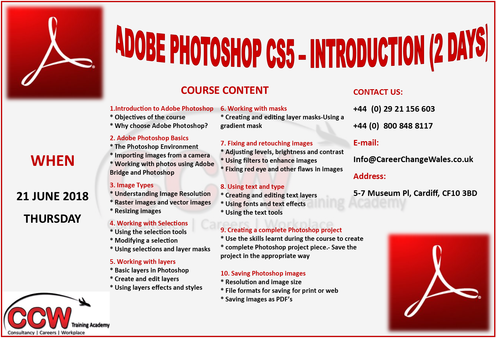 Adobe photoshop cs5 introduction upcoming excel courses baditri Images